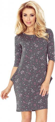 numoco Sukienka z kieszeniami Jola 40-12 grafitowa w różowe motylki r. XL