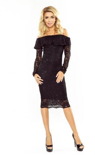 Morimia Sukienka koronkowa - hiszpanka z długim rękawkiem  MM 021 czarna r. XL