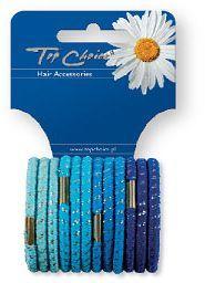 Top Choice Gumki do włosów glitter 12szt nieb 21305