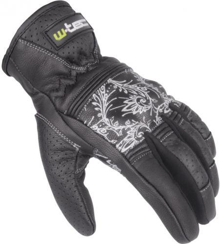 W-TEC Rękawice motocyklowe damskie skórzane  W-TEC NF-4206 czarno-białe r. XL (12145-XL)