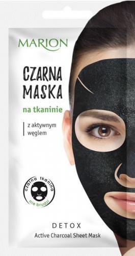 Marion Detox Aktywny Węgiel Maska czarna na tkaninie