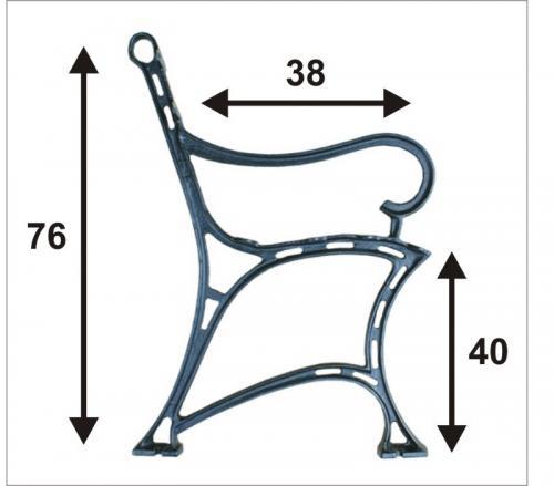 Noga do ławki miejska z podłokietnikiem 6 desek