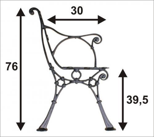 Noga do ławki z podpórką C 5 desek