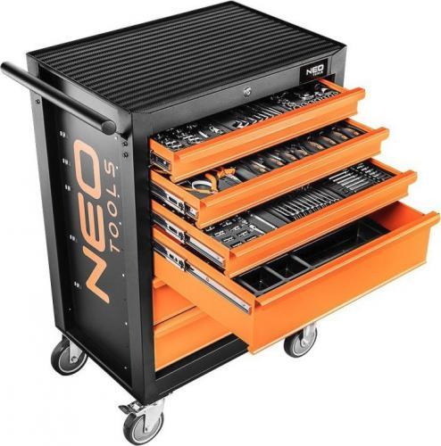 Wózek narzędziowy NEO 6 szuflad z 10 wkładkami, 149 elementów - 84-221+G 149