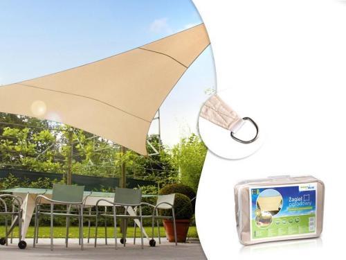 GreenBlue Żagiel ogrodowy zacieniacz UV poliester 5m trójkąt kremowy hydrofobowa powierzchnia - GB502