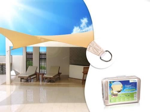 GreenBlue Żagiel ogrodowy zacieniacz UV poliester 5m kwadrat kremowy hydrofobowa powierzchnia - GB505