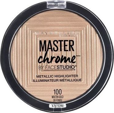 Maybelline  Maybelline New York Master Chrome Metallic Highlighter 100 Molten Gold Puder rozświetlający 6,7g - 3600531422257