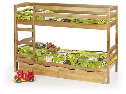 Halmar SAM - łóżko piętrowe z materacami - olcha