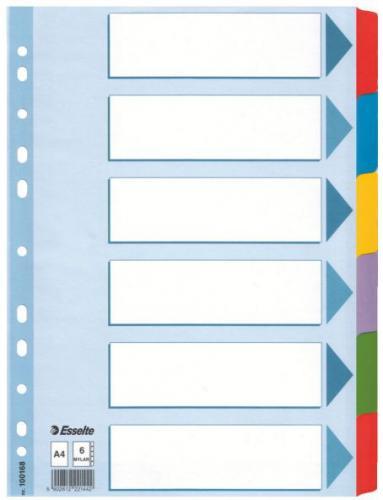 Esselte PRZEKŁADKI KOLOROWE KARTONOWE ESSELTE KARTA OPISOWA MYLAR A4 6 KART (100168)