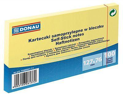 Donau Bloczek samoprzylepny 127X76MM 1X100 jasnożółty (7588001-11)