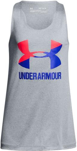 Under Armour Koszulka dziecięca Big Logo Slash Tank szara r. 127-137cm (1301883-035)
