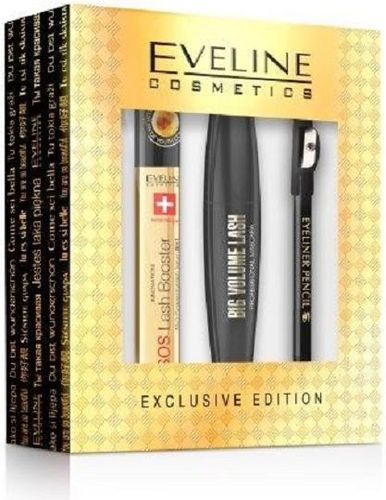 Eveline EVELINE SET Big Volume Lash Mascara 10ml + SOS Lash Booster Eyelash Serum 10ml + Eyeliner Pencil Black 0,28g - 5901761929232