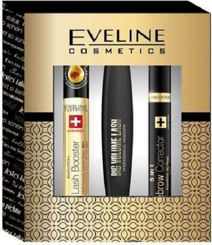 Eveline EVELINE SET Big Volume Lash Mascara 10ml + Eyebrow Corrector 9ml + SOS Lash Booster Eyelash Serum 10ml - 5901761961836