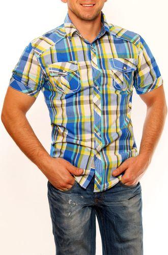 BACK NUMBER Męska koszula na krótki rękaw w kratkę  niebieski M TW8832 - 807003326157