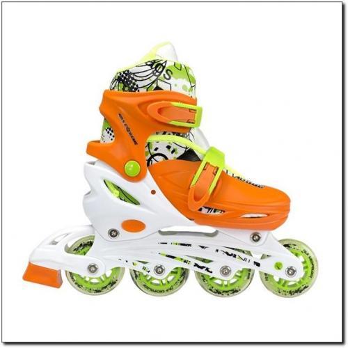 NILS Extreme Łyżworolki z wymienną płozą hokejową pomarańczowe r. 31-34 (NH18330)