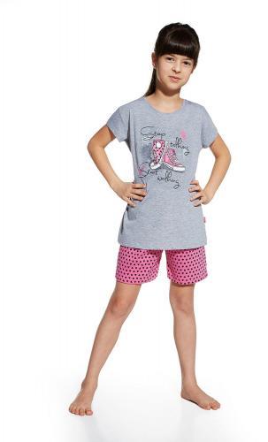 Cornette Piżama dziewczęca Shoes szaro-różowa r. 98/104
