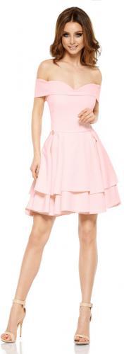 Lemoniade Zjawiskowa sukienka bardotka L258 pudrowy róż r. M