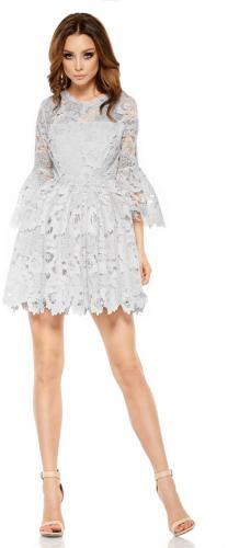 Lemoniade Romantyczna sukienka z koronki L262 jasnoszara r. S