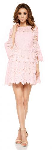 Lemoniade Romantyczna sukienka z koronki L262 pudrowy róż r. M
