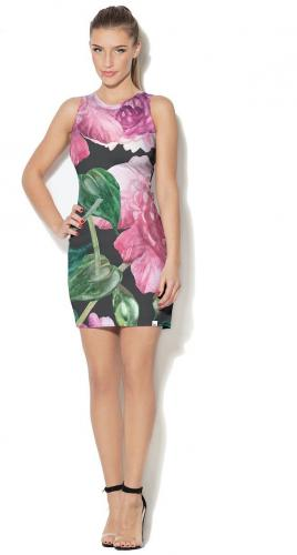 79ed4b24aae8ca Colour Pleasure Sukienka CP-026 192 różowo-czarno-zielona r. XL/XXL ...