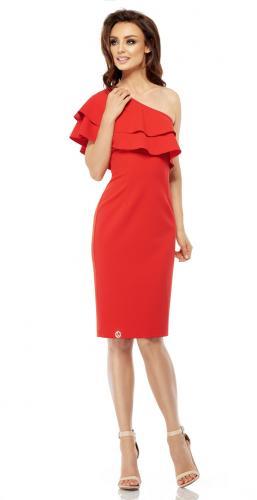 Lemoniade Olśniewająca sukienka na jedno ramię L254 czerwona r. L