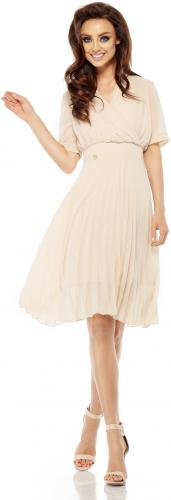 Lemoniade Zwiewna sukienka kopertowa L255 beżowa r. XL