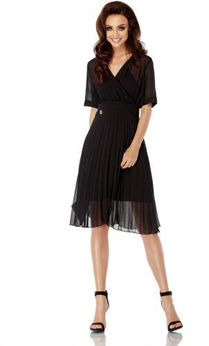 Lemoniade Zwiewna sukienka kopertowa L255 czarna r. L