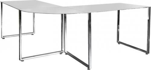 Biurko King Home narożne BIG DEAL białe - szkło, metal