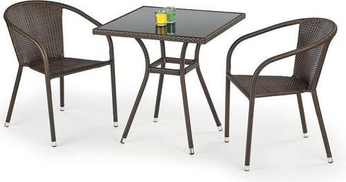 Halmar MOBIL stół ogrodowy, kolor: szkło - czarny, ratan - c.brąz (1p=1szt)
