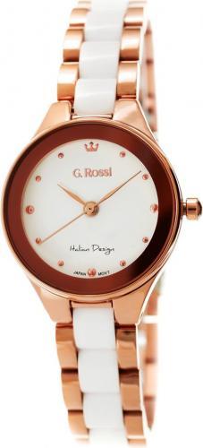Zegarek Gino Rossi damski Kostini rose gold-biały (11041B-3D3)