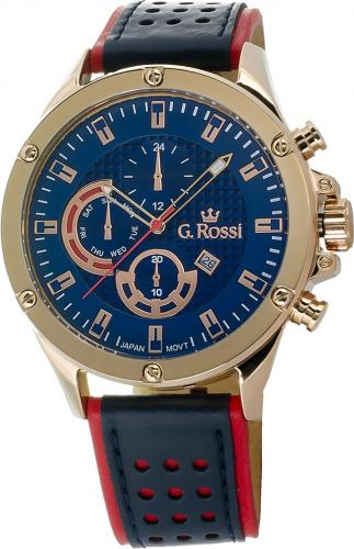 Zegarek Gino Rossi męski Borton granatowo-czerwony (11455A-6F3)