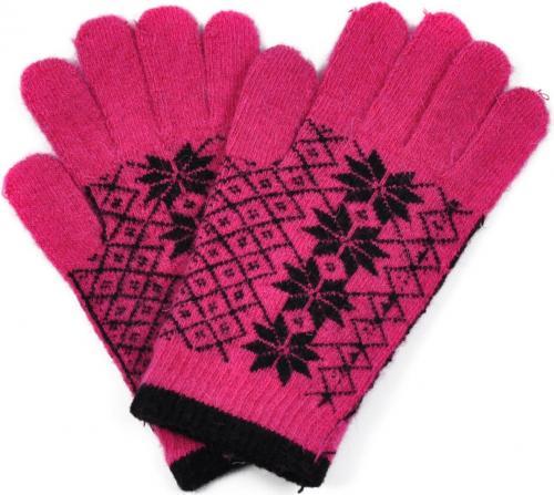 Art of Polo Angorowe rękawiczki w gwiazdki rk1620-3 różowe r. uniwersalny