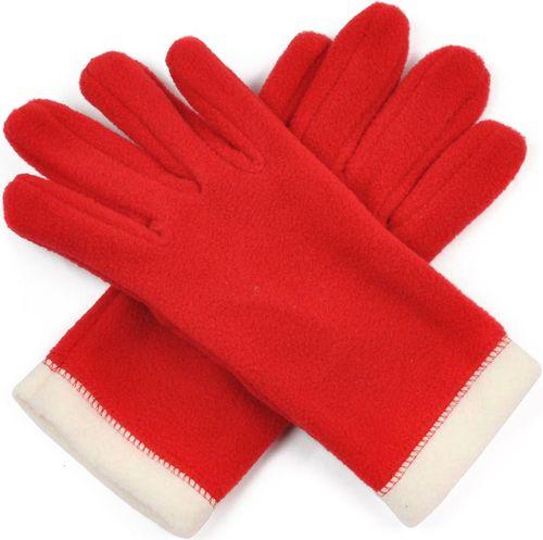Art of Polo Rękawiczki damskie polarowe 2-kolorowe czerwono beżowe