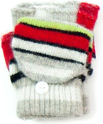 Art of Polo Rękawiczki dziecięce Paseczki szaro-czerwone (rkq053)