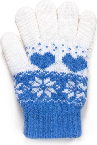 Art of Polo Rękawiczki dziecięce Zimowe wzorki niebieskie (rk17560)