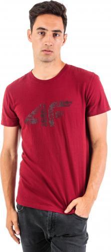 4f Koszulka męska H4Z18-TSM008 burgundowo-czarna r. XL