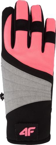 4f Rękawiczki damskie H4Z18-RED001 czarno-różowe r. L