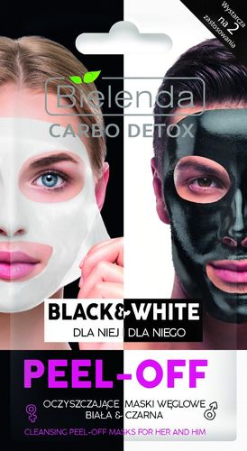 Bielenda Carbo Detox Cleansing Peel - Off Masks For Her And Him 2x6g