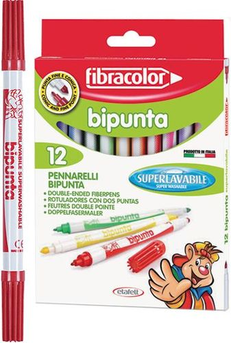 Euros Pisaki fibracolor dwustronne 12 kolorów w etui