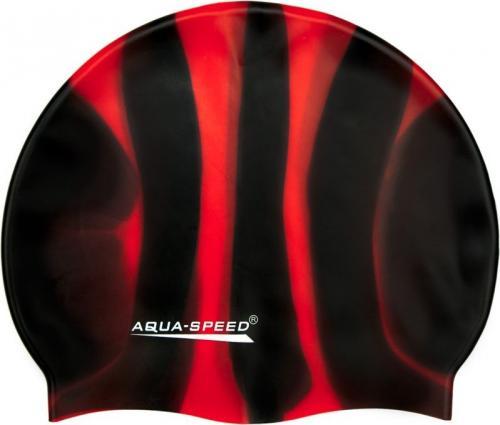 Aqua-Speed Czepek pływacki Bunt Tęczowy czarno-czerwony
