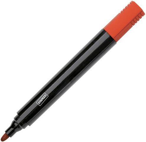 Staples Marker permanentny okrągła końcówka, 1,5-3 mm, czerwony (C20702)
