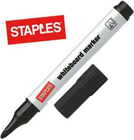 Staples Marker suchościeralny do białych tablic, okrągły, czarny (C86204)