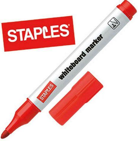 Staples Marker suchościeralny do białych tablic, okrągły, czerwony (C86202)