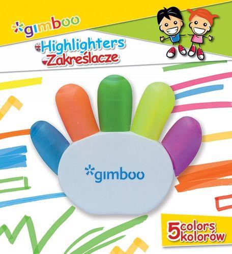 QConnect Zakreślacz Gimboo w kształcie rączki 5 kolorów blister 17056237-99