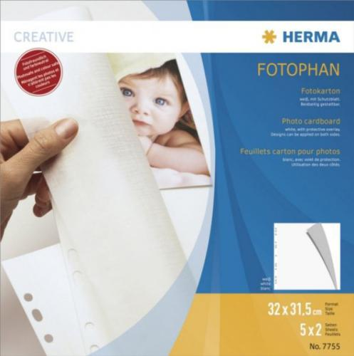 Herma Karty do zdjęć - 32x31,5 cm 5 sztuk, białe 7755