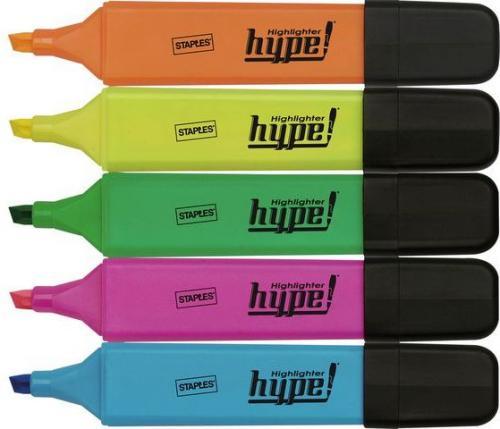 Staples Zakreślacz fluorescencyjny 1-5mm, zestaw 5 kolorów: żółty, zielony, pomarańczowy, różowy, niebieski (C28009)