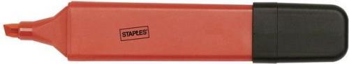 Staples Zakreślacz fluorescencyjny 1-5mm, ścięta końcówka, czerwony 5 sztuk (2881200)