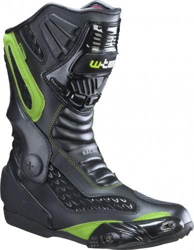 W-TEC Buty motocyklowe skórzane Brogun NF-6003 czarno-zielone r. 46 (12180-46-2)