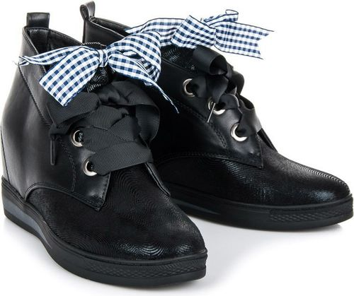 VINCEZA Czarne sneakersy ze wstążką PAIGE
