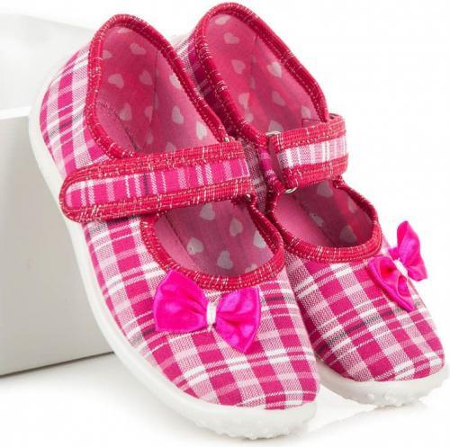 RAWEKS Balerinki dziewczęce domowe ROSALIE różowo-białe r. 30